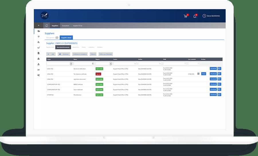 La solution de gestion des fournisseurs Oxalys facilite le suivi de la conformité avec les obligations légales ou réglementaires de vos fournisseurs