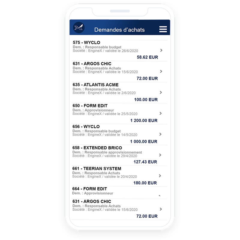 The Oxalys mobile purchase order tracking app