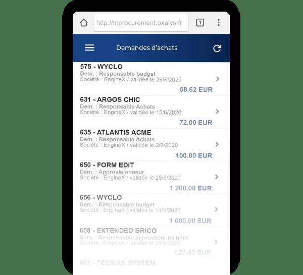Application mobile Oxalys de gestion et suivi des Achats